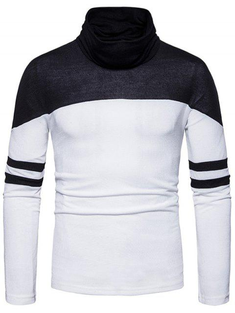 Cowl Neck Color Block Varsity Stripe Sweater - Blanc L Mobile