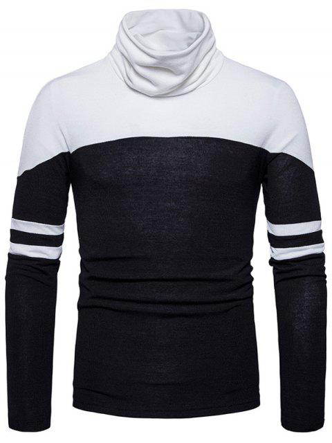 Cowl Neck Color Block Varsity Stripe Sweater - Noir 2XL Mobile