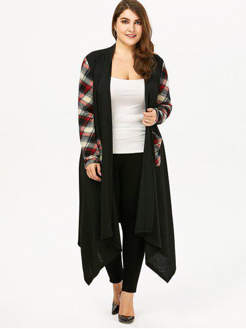 best Plus Size Plaid Pocket Longline Drape Cardigan - BLACK 3XL Mobile