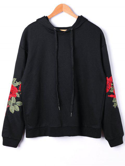trendy Plus Size Embroidery Hoodie - BLACK 5XL Mobile