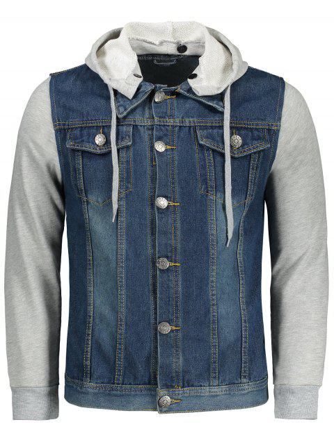 fancy Jersey Hoodie Denim Jacket - BLUE 2XL Mobile