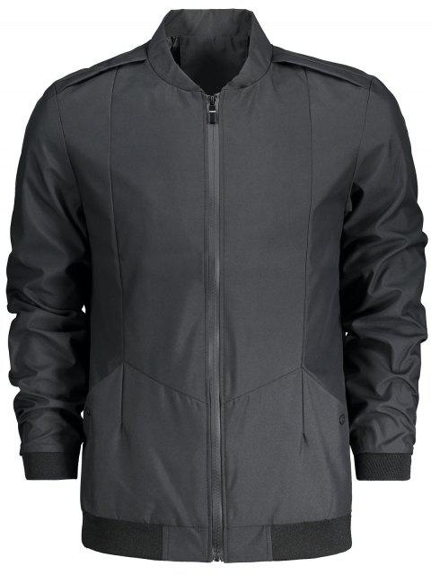 Stand Collar Zip Fly Jacket - Negro 2XL Mobile