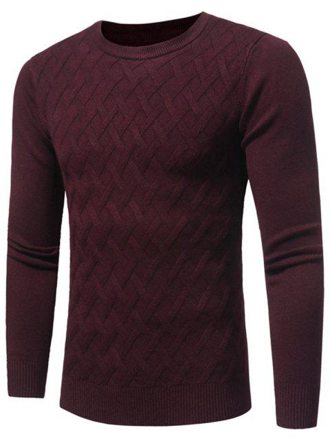 shop Net Pattern Crew Neck Sweater - WINE RED 3XL Mobile