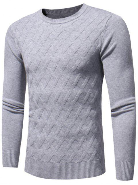 fancy Net Pattern Crew Neck Sweater - GRAY XL Mobile
