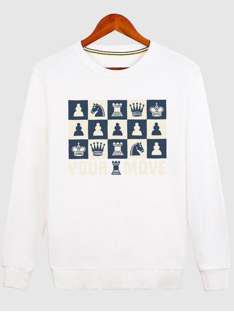 Sweat-shirt Imprimé Pièces Échecs Ras du Cou - Blanc XL Mobile
