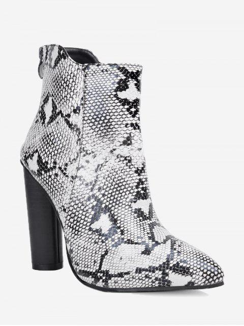 online Pointed Toe Snake Print Ankle Boots - WHITE 36 Mobile