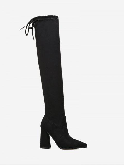 ladies Pointed Toe Tie Back Thigh High Boots - BLACK 35 Mobile