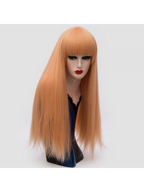 Long Full Bang Fluffy Straight Cosplay Lolita peluca sintética - Dorado+Rosa  Mobile