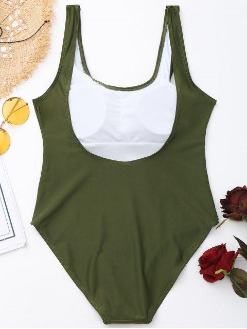 Traje de baño de corte alto y espalda baja acolchado - Ejercito Verde L Mobile