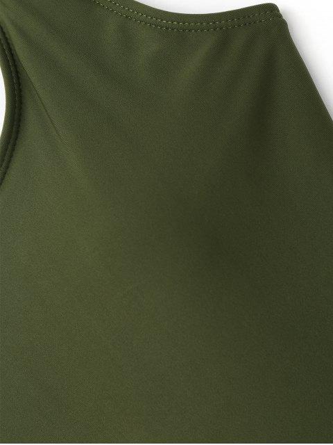 Traje de baño de corte alto y espalda baja acolchado - Ejercito Verde M Mobile