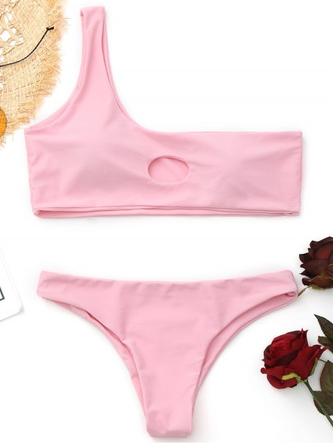 latest Cut Out One Shoulder Bikini - PINK L Mobile