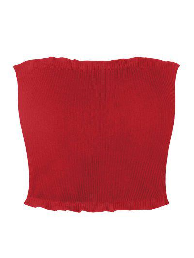 Ribbed Flounced Tube Top - Red S