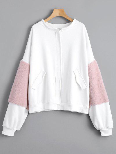 Faux Fur Embellished Faux Pockets Zippered Jacket - White M
