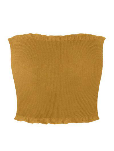 Ribbed Flounced Tube Top - Yellow S