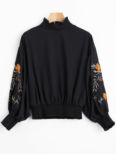 Floral Patched Lantern Sleeve Ruffled Blouse - Black S