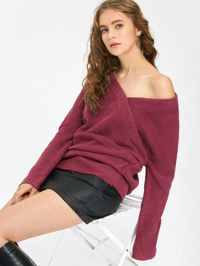 Ruched Off The Shoulder Sweater - Purplish Red