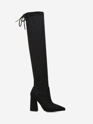 Pointed Toe Tie Back Thigh High Boots - Black 37