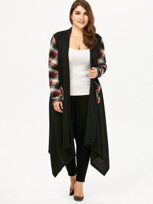 Plus Size Plaid Pocket Longline Drape Cardigan