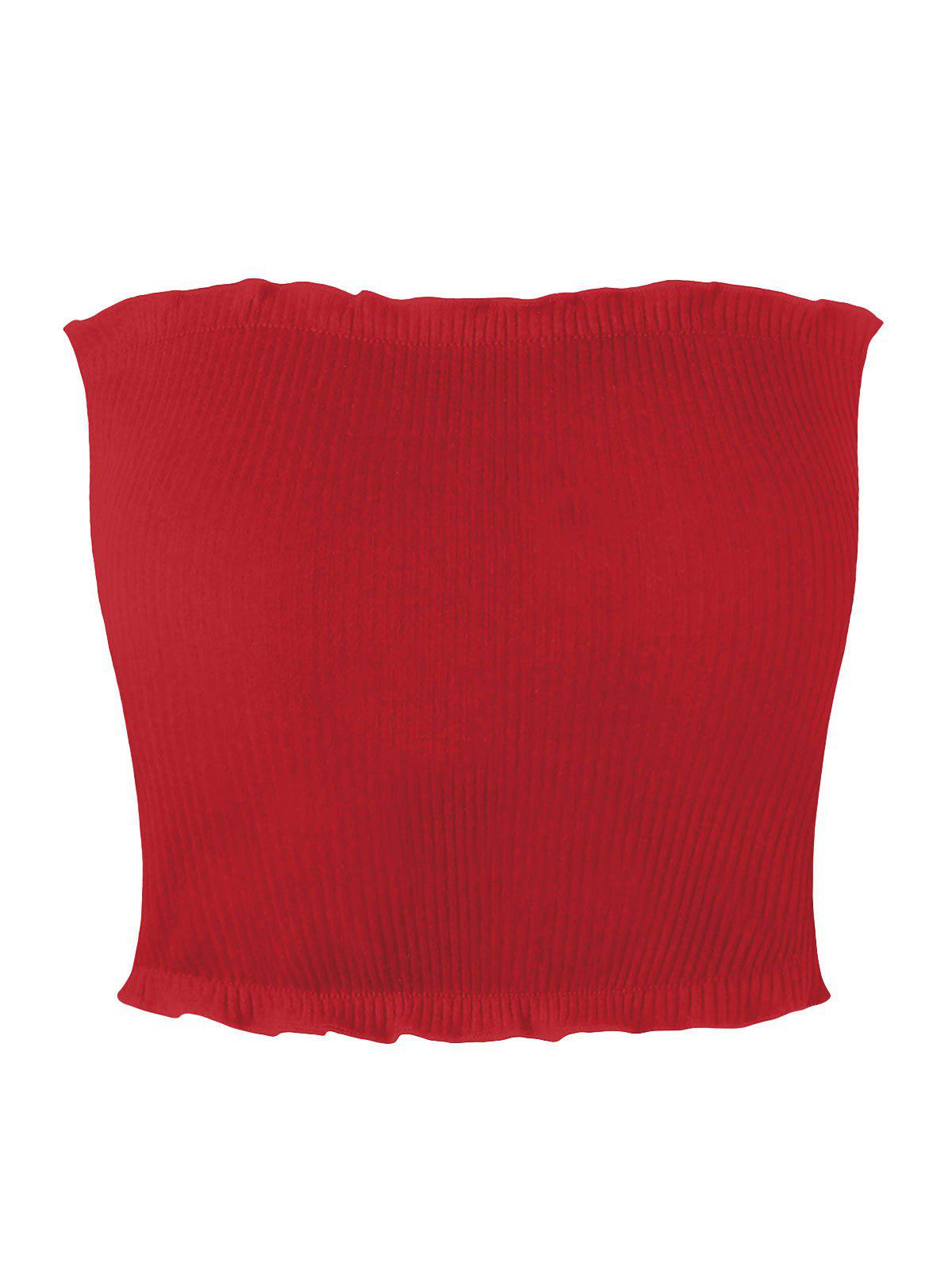 Ribbed Flounced Tube Top 229337216