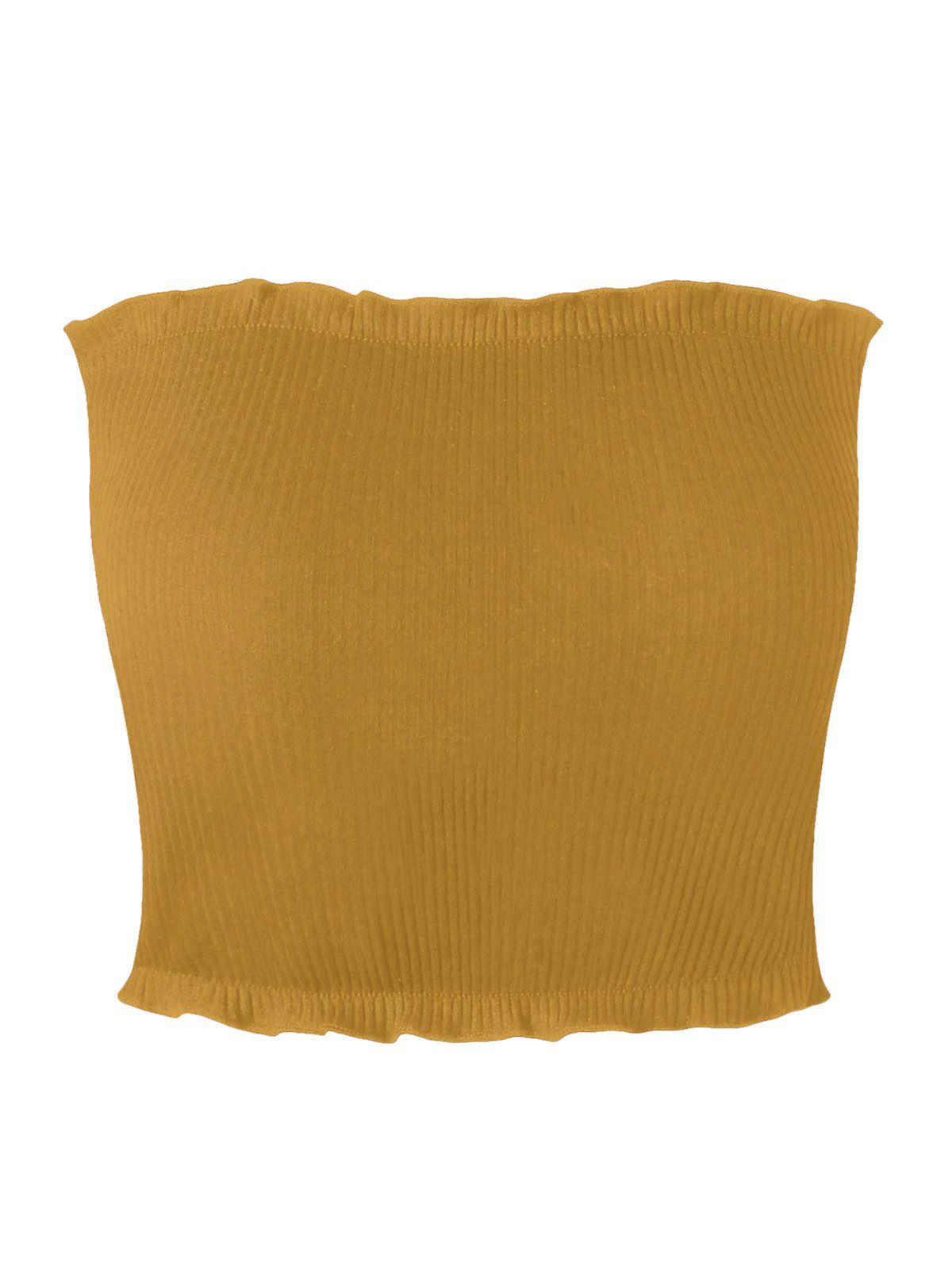 Ribbed Flounced Tube Top 229337204