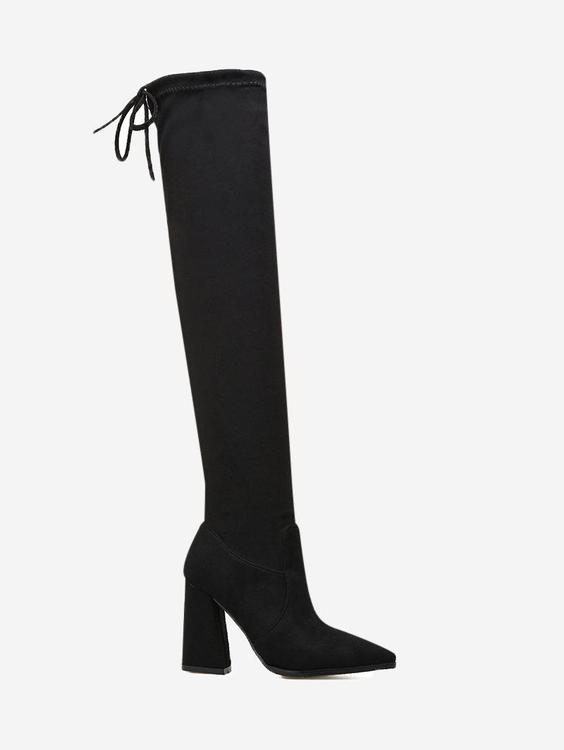 Pointed Toe Tie Back Thigh High Boots 230170905