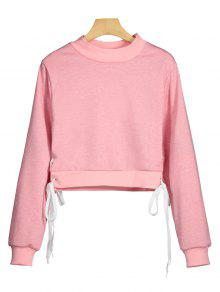 Side Lace Up Cosecha Sudadera - Rosa Xl