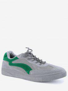 Lace Up Color Block Skate Zapatos - Verde 40