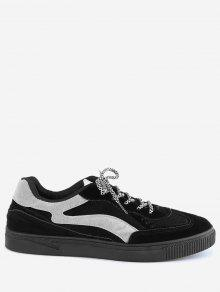 Lace Up Color Block Skate Zapatos - Negro 42