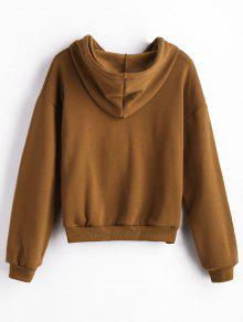 Front Pocket Fleece Hoodie BROWN: Sweatshirts M | ZAFUL