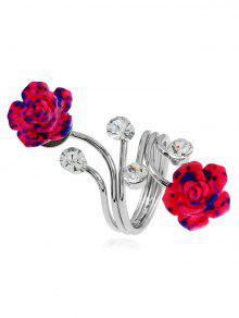 Aleación De Diamantes De Imitación Flor Anillo Completo - Plata