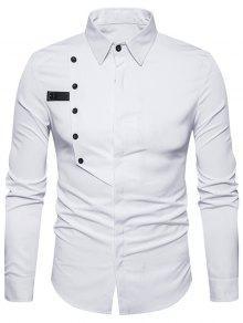 أزرار طوق الياقة تصميم غطاء بلاكيت قميص - أبيض 2xl