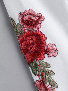 Cosechados Patches Capucha Bordados Blanco L Sudadera Florales Con q8wv8Rp