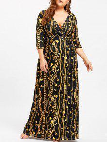 فستان الحجم الكبير كهنوتي طباعة السلسلة والقفل - أسود 4xl