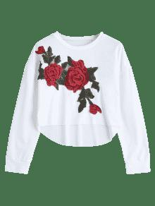Low Patched Embroidered Blanco Sweatshirt Floral Xl High dqOHwtSd