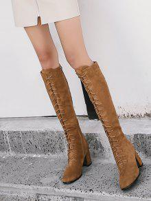 ba33e6c5931 43% OFF  2019 Chunky Heel Lace Up Knee High Boots In BROWN