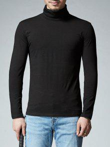 Camiseta Larga De La Manga Del Estiramiento Del Cuello - Negro L