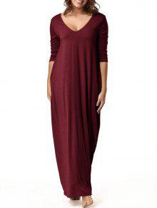 فستان طابق الطول فضفاض الرقبة V - نبيذ أحمر L