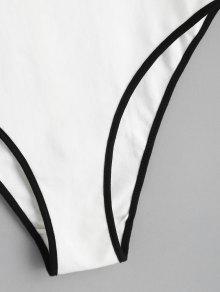 Parche Contraste Bordado Bodysuit Rosa Blanco S YZBFYqw