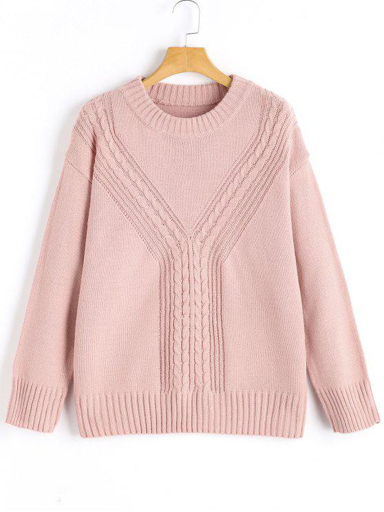 trendy Cable-knit Crew Neck Sweater - CAMEO ONE SIZE