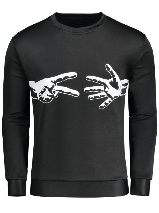 Shirt Coton Ciseaux En Black Sweat Imprimé Feuille ZiPXuk