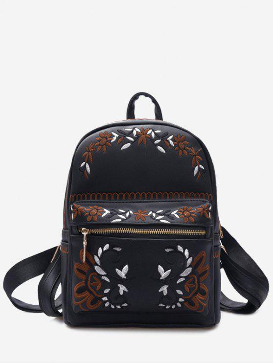 women's Faux Leather Floral Embroidery Backpack - BLACK