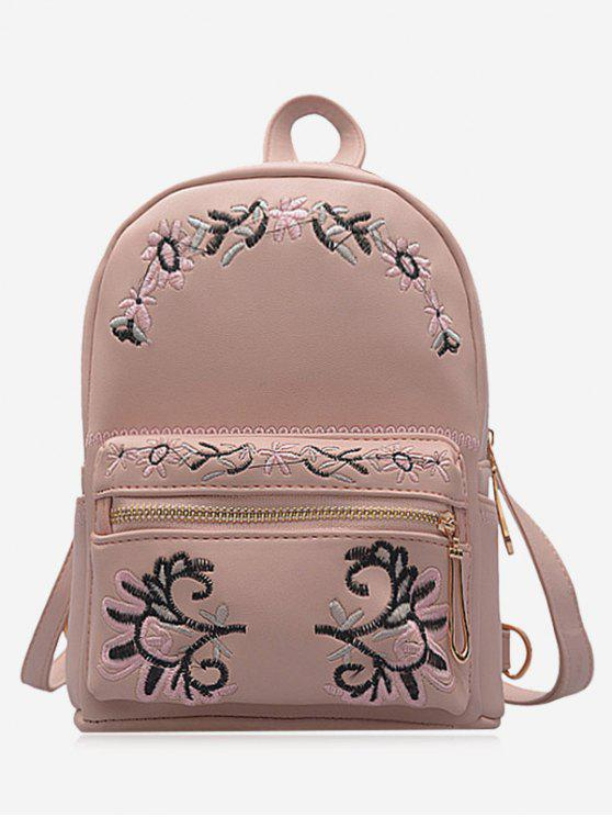 lady Faux Leather Floral Embroidery Backpack - PINK
