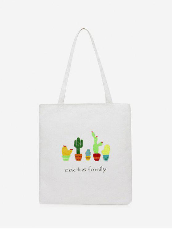Borsa A Spalla Con Stampa A Cactus Di Canvas - Bianca