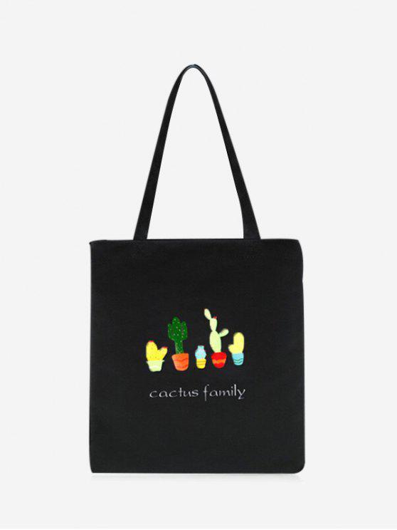 new Canvas Cactus Print Shoulder Bag - BLACK