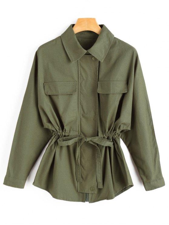 hot Waist Drawstring Jacket - ARMY GREEN S