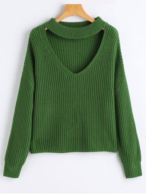 Oversized Choker Chunky Sweater GREEN: Sweaters ONE SIZE | ZAFUL