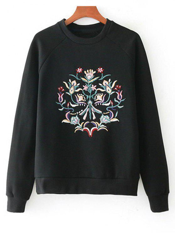 Sweat-shirt Brodé Floral à Manches Raglan - Noir S