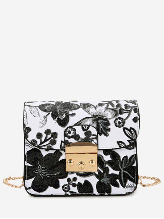 Mini bolso de Crossbody de la cadena floral - Negro