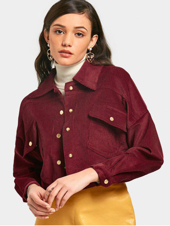 hot Snap Button Corduroy Cropped Jacket - WINE RED M