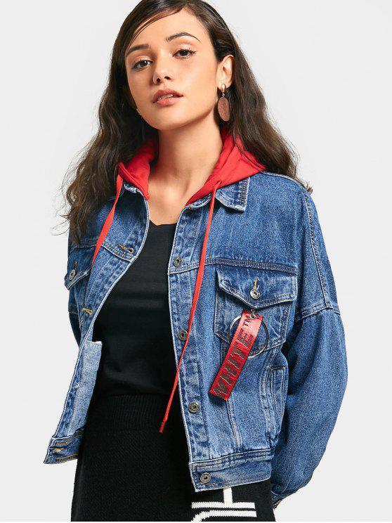 trendy Contrast Hooded Denim Jacket - BLUE M